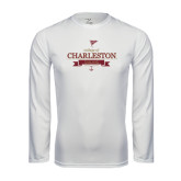 Performance White Longsleeve Shirt-Sailing Anchor Design