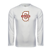 Performance White Longsleeve Shirt-Official Logo - C Charleston