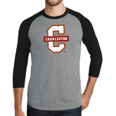 Grey/Black Tri Blend Baseball Raglan-Official Logo - C Charleston