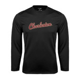 Performance Black Longsleeve Shirt-Charleston Script