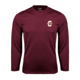 Performance Maroon Longsleeve Shirt-Official Logo - C Charleston