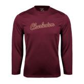 Syntrel Performance Maroon Longsleeve Shirt-Charleston Script