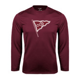 Performance Maroon Longsleeve Shirt-CC Sailing Flag Rising