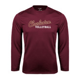 Syntrel Performance Maroon Longsleeve Shirt-Volleyball