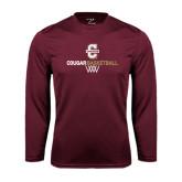 Performance Maroon Longsleeve Shirt-Basketball Net Design