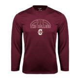 Syntrel Performance Maroon Longsleeve Shirt-Basketball Ball Design