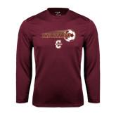 Performance Maroon Longsleeve Shirt-Soccer Ball Design