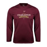 Performance Maroon Longsleeve Shirt-Sailing Anchor Design