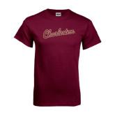 Maroon T Shirt-Charleston Script