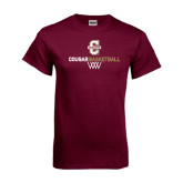 Maroon T Shirt-Basketball Net Design