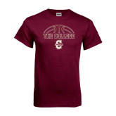 Maroon T Shirt-Basketball Ball Design