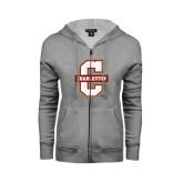 ENZA Ladies Grey Fleece Full Zip Hoodie-Official Logo - C Charleston