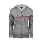 ENZA Ladies Grey Fleece Full Zip Hoodie-Charleston Script