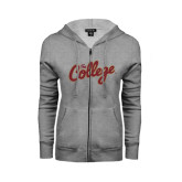 Ladies Grey Fleece Full Zip Hoodie-The College Script