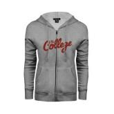 ENZA Ladies Grey Fleece Full Zip Hoodie-The College Script