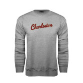 Grey Fleece Crew-Charleston Script