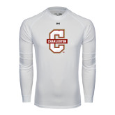 Under Armour White Long Sleeve Tech Tee-Official Logo - C Charleston