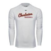 Under Armour White Long Sleeve Tech Tee-Baseball