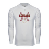 Under Armour White Long Sleeve Tech Tee-Baseball Ball Design