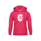 Youth Raspberry Fleece Hoodie-Official Logo - C Charleston