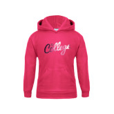 Youth Raspberry Fleece Hoodie-The College Script Foil