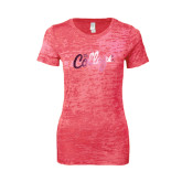 Next Level Ladies Junior Fit Fuchsia Burnout Tee-The College Script Foil