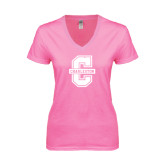 Next Level Ladies Junior Fit Deep V Pink Tee-Official Logo - C Charleston