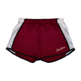 Ladies Maroon/White Team Short-Charleston Script