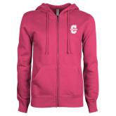 ENZA Ladies Fuchsia Fleece Full Zip Hoodie-Official Logo - C Charleston