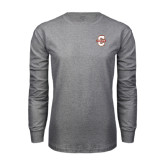 Grey Long Sleeve T Shirt-Official Logo - C Charleston