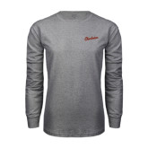 Grey Long Sleeve T Shirt-Charleston Script