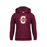 Youth Maroon Fleece Hoodie-Official Logo - C Charleston