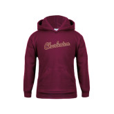 Youth Maroon Fleece Hoodie-Charleston Script