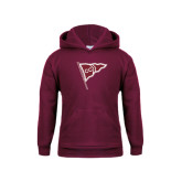 Youth Maroon Fleece Hoodie-CC Sailing Flag Rising