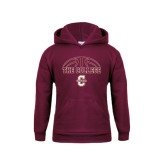 Youth Maroon Fleece Hoodie-Basketball Ball Design