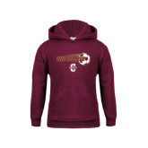 Youth Maroon Fleece Hoodie-Soccer Ball Design