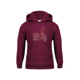 Youth Maroon Fleece Hoodie-Sail Boat Design