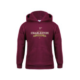 Youth Maroon Fleece Hoodie-Sailing Anchor Design