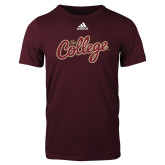 Adidas Maroon Logo T Shirt-The College Script