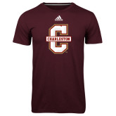 Adidas Climalite Maroon Ultimate Performance Tee-Official Logo - C Charleston
