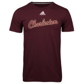 Adidas Climalite Maroon Ultimate Performance Tee-Charleston Script