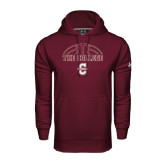 Under Armour Maroon Performance Sweats Team Hoodie-Basketball Ball Design