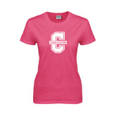 Ladies Fuchsia T Shirt-Official Logo - C Charleston