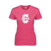 Ladies Fuchsia T Shirt-Official Logo - C Charleston