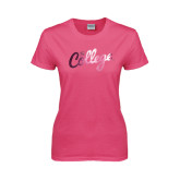 Ladies Fuchsia T Shirt-The College Script Foil