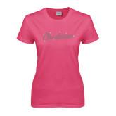Ladies Fuchsia T Shirt-Charleston Script Rhinestones