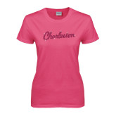 Ladies Fuchsia T Shirt-Charleston Script Rhinestones