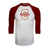 White/Maroon Raglan Baseball T Shirt-Official Logo - C Charleston