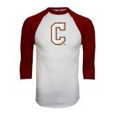 White/Maroon Raglan Baseball T Shirt-C