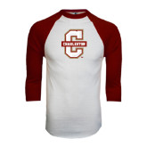 White/Maroon Raglan Baseball T Shirt-Official Logo - C Charleston Distressed